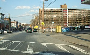 Stapleton, Staten Island - Stapleton Houses (right), looking northeast down Broad Street