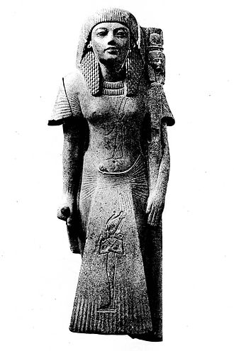 Maatkare B - Statue of the High Priest of Amun Shoshenq, mentioning his parents Osorkon I and Maatkare. Cairo, CG 42194