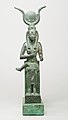 Statuette of Isis nursing Horus (missing above the legs), inscribed for Hor son of Padihorresnet MET 45.4.3 front.jpg