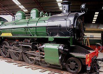 WAGR P and Pr classes - P521 at the Western Australian Rail Transport Museum, note the running-board nameplate and hemispherical headlight in contrast to the cylindrical example on P508 above