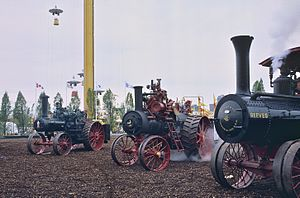 Reeves & Co. - A Reeves-built steam tractor (at far right) being exhibited with other steam tractors at Expo 86