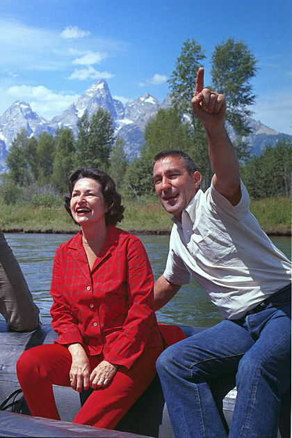 Lady Bird Johnson and Udall on a trip to Grand Teton National Park, August 1964 Stewart Udall 1964.jpg