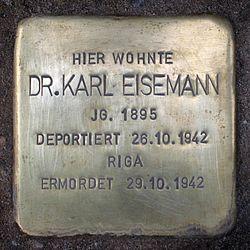 Photo of Karl Eisemann brass plaque