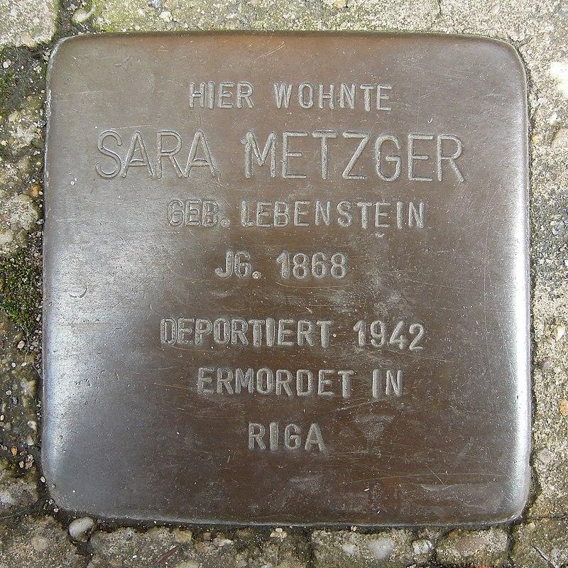 Stolperstein Dorsten Wiesenstraße 14-16 Sara Metzger.jpg