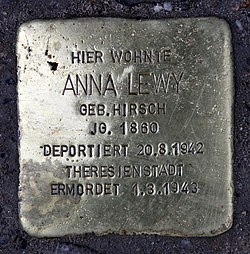 Photo of Anna Lewy brass plaque