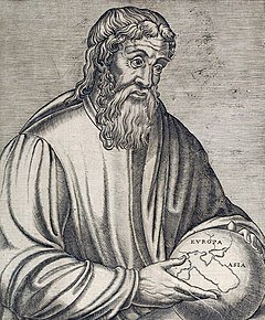 The Ancient Greek geographer Strabo holding a globe showing Europa and Asia
