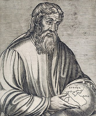Continent - The Ancient Greek geographer Strabo holding a globe showing Europa and Asia