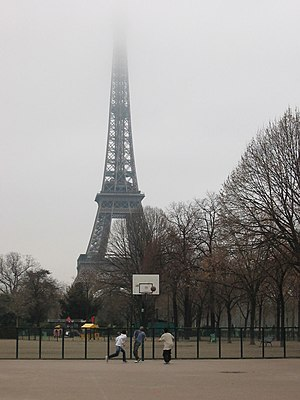 Streetball - Children playing streetball in Paris in winter