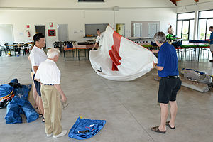 2012 Vintage Yachting Games - Stuart H. Walker (center) during Sail Measurement