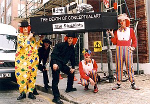 "Conceptual art - Stuckist artists leave a coffin, marked ""The death of conceptual art"", outside the White Cube gallery in Shoreditch, July 25, 2002."
