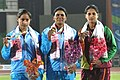 Suman Devi of India won Gold Medal, Annu Rani of India won Silver Medal and BL Adeeka Lakmali of Sri Lanka won Bronze Medal in women's Javelin throw final in Athletics, at 12th South Asian Games-2016, in Guwahati.jpg