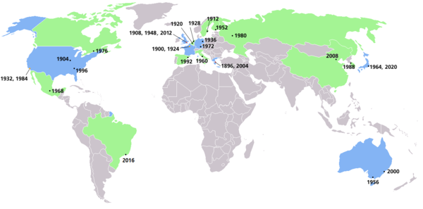 Map of Summer Olympics locations. Countries that have hosted one Summer Olympics are shaded green, while countries that have hosted two or more are shaded blue. Summer olympics all cities.PNG