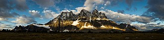 Tonquin Valley - Sunrise and cloud shadows on the Tonquin Valley ramparts