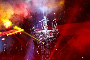 """Poker Face (Lady Gaga song) - Gaga performing """"Poker Face"""" during the Super Bowl LI halftime show, standing on a high platform"""