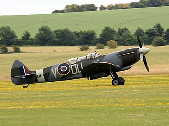 Royal New Zealand Air Force - The restored Mk IX Spitfire flown by NZ ace Johnnie Houlton DFC with 485 (NZ) Squadron. It was converted to a dual configuration in 1946.