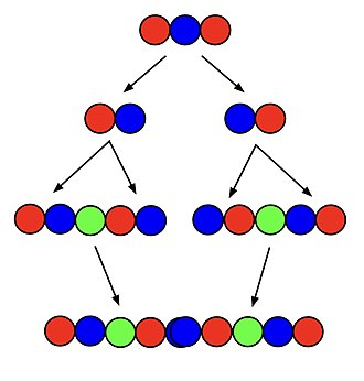 Superpermutation - A diagram of the creation of a superpermutation with 3 symbols from a superpermutation with 2 symbols.