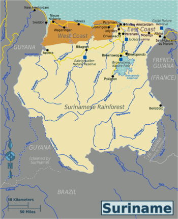 Map Of West Coast Of France.West Coast Suriname Travel Guide At Wikivoyage