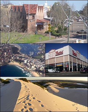 Sutherland Shire - Left to right from top: The suburb of Sutherland; Cronulla and beaches; Westfield, Miranda; Kurnell Sand Dunes.