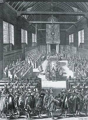 History of the Calvinist–Arminian debate - The Synod of Dort (1618-1619) in a 17th-century Dutch engraving