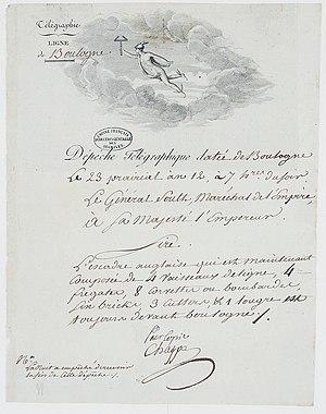 Camp of Boulogne - Image: Télégramme du Général Soult à l'Empereur Napoléon Bonaparte l'informant que l'escadre anglaise est toujours devant Boulogne. 1 Archives Nationales AE II 2302