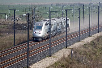 SNCF - TGV 4402 operation V150 reaching 574 km/h on 3 April 2007 near Le Chemin, France.
