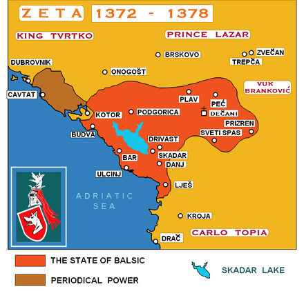 Zeta under the Balsic Dynasty in the 14th century THE STATE OF BALSIC.png