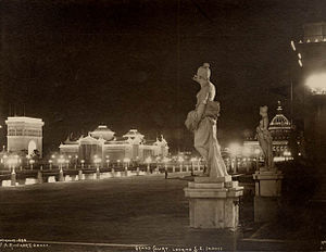 History of Omaha, Nebraska - Night view of the Grand Court. Photograph by Frank Rinehart, 1898.