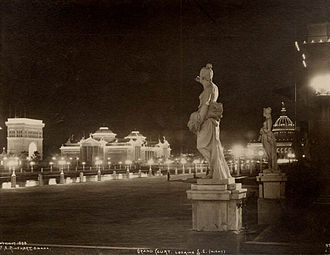 Kountze Park (Omaha, Nebraska) - Night view of the Grand Court during the Trans-Mississippi Exposition in 1898.