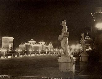 North Omaha, Nebraska - Night view of the Grand Court. Photograph by Frank Rinehart, 1898.