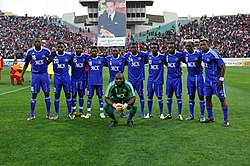 Players from Mazembe lining up for a photo before a match.