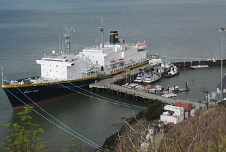 California State University Maritime Academy - TS Golden Bear after it was hauled out and painted a navy blue.