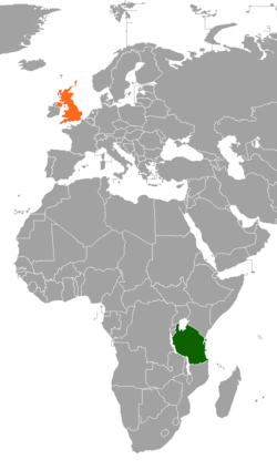 Map indicating locations of Tanzania and United Kingdom