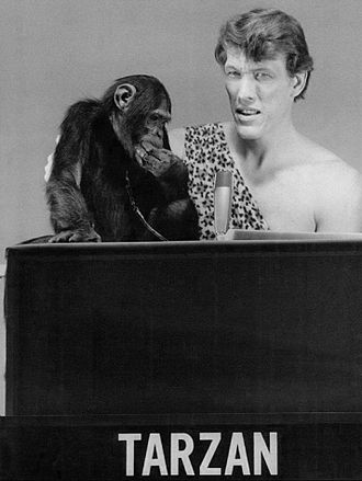 Ted Cassidy - Cassidy as Tarzan with Cheeta for the children's game show Storybook Squares, 1969
