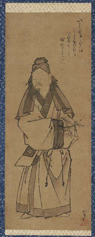 Sugawara no Michizane - Tenjin (Michizane) Crossing to China, late 15th century by Sesshin, Muromachi period, Ink on paper