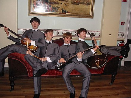 The Beatles at Madame Tussauds London The Beatles wax dummies.jpg