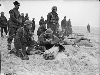 6th Infantry Brigade (United Kingdom) - Men of the 1st Battalion, Royal Welch Fusiliers practise firing their Boys anti-tank rifles on the beach near Etaples, France, 6 February 1940.