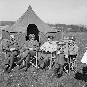 William Hood Simpson - Allied commanders conference, April 11, 1945. From left to right, Lieutenant General Sir Miles C. Dempsey (GOC British Second Army), General Omar N. Bradley (C-in-C U.S. 12th Army Group); Field Marshal Sir Bernard L. Montgomery (C-in-C 21st Army Group), Lieutenant General William H. Simpson (GOC U.S. Ninth Army).