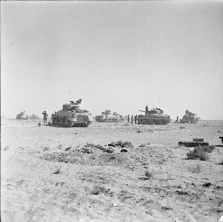 Tanks of 8th Armoured Brigade waiting just behind the forward positions near El Alamein before being called to join the battle, 27 October 1942 The British Army in North Africa 1942 E18531.jpg