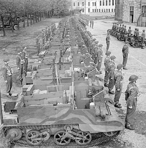 History of the Scots Guards (1914–1945) - Universal Carriers of the 1st Battalion, Scots Guards on parade at the Royal Wanstead School, London, 9 October 1942.