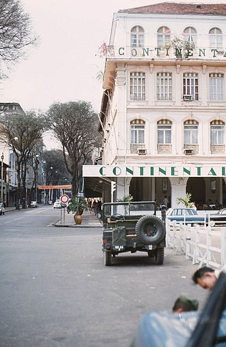 Hotel Continental, Saigon - View of the Continental and Tu Do Street in 1968