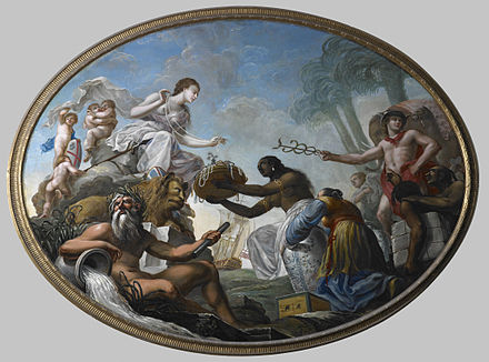 """The East offering its riches to Britannia"", painted by Spiridione Roma for the boardroom of the British East India Company The East offering its riches to Britannia - Roma Spiridone, 1778 - BL Foster 245.jpg"