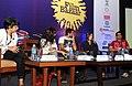 The Film Director, Joya Akhtar, Bollywood Actors Sanjay Suri, Abhay Deol and Kalki Koechlin at a press conference at the 42nd International Film Festival of India (IFFI-2011), at Main Media Centre, in Panaji, Goa.jpg