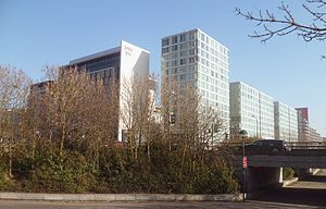 Milton Keynes - The Hub:MK, built between 2006 and 2008. The taller glass tower, Manhattan House, has fourteen stories.