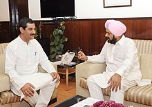 The IOC member, Shri Randhir Singh meeting the Minister of State (Independent Charge) for Youth Affairs & Sports, Shri Jitendra Singh, in New Delhi on April 17, 2013.jpg