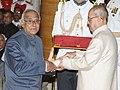 The President, Shri Pranab Mukherjee presenting the Padma Vibhushan Award to Dr. Vasudev Kalkunte Aatre, at a Civil Investiture Ceremony, at Rashtrapati Bhavan, in New Delhi on April 12, 2016.jpg