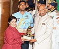 The President, Shri Ram Nath Kovind presenting the Arjuna Award, 2018 to Ms. Rahi Sarnobat for Shooting, in a glittering ceremony, at Rashtrapati Bhavan, in New Delhi on September 25, 2018.JPG