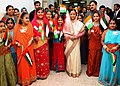 The President, Smt. Pratibha Devisingh Patil with the Students of Abu Dhabi Indian School, in Abu Dhabi on November 23, 2010.jpg