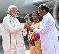 The Prime Minister, Shri Narendra Modi being welcomed by the Governor of Jharkhand, Smt. Droupadi Murmu and the Chief Minister of Jharkhand, Shri Raghubar Das, on his arrival, at Ranchi, Jharkhand on September 23, 2018 (1).JPG