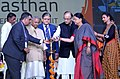 The Union Minister for Finance, Corporate Affairs and Information & Broadcasting, Shri Arun Jaitley lighting the lamp to inaugurate the Resurgent Rajasthan Partnership Summit 2015, in Jaipur. The Governor of Rajasthan.jpg