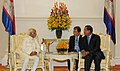 The Vice President, Shri Mohd. Hamid Ansari meeting the Prime Minister of Cambodia, Mr. Hun Sen, in Phonm Penh, Cambodia on September 16, 2015.jpg